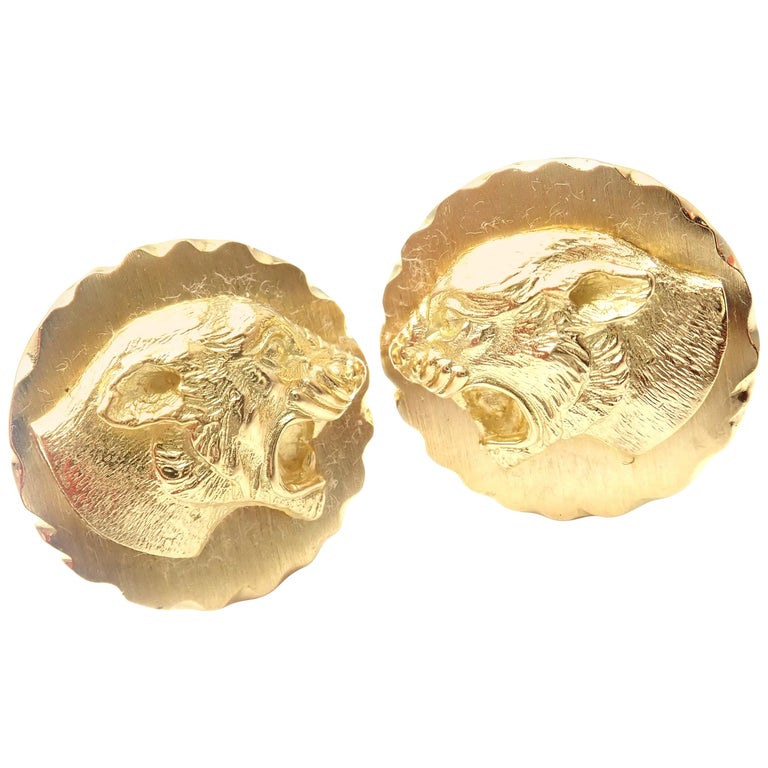 Van Cleef & Arpels Panther Panthere Yellow Gold Cufflinks For Sale