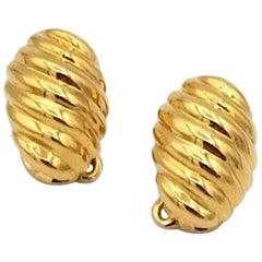 Van Cleef & Arpels Paris 18 Karat Gold Shell Motif Clip-On Earrings Vintage
