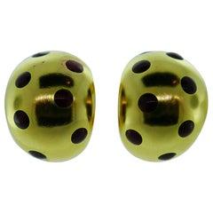 Van Cleef & Arpels Paris 18 Karat Yellow Gold and Red Enamel Earrings Vintage