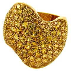 Van Cleef & Arpels Paris 18k Yellow Gold & Yellow Sapphire Wave Ring Vintage