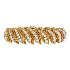 """Van Cleef & Arpels, Paris 1950s Gold Rope Twist and Diamond """"Flamme"""" Bracelet"""