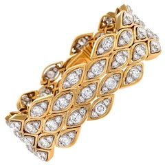 Van Cleef & Arpels Paris 1970s Diamond Gold and Platinum Bracelet