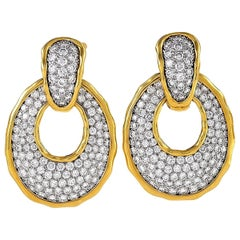 Van Cleef & Arpels Paris 1980s Diamond and Gold Door Knocker Ear Pendants