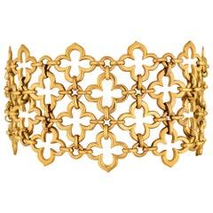 Van Cleef & Arpels Paris Alhambra Vintage Gold Wide Mesh Bracelet