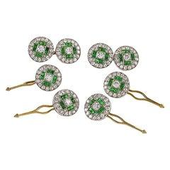 Van Cleef & Arpels Paris Art Deco Diamond Emerald Platinum and Gold Dress Set