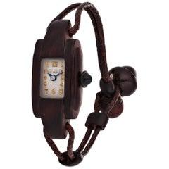 Van Cleef & Arpels Paris Art Deco Rosewood and Leather Manual Wristwatch