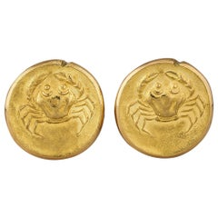 Van Cleef & Arpels Paris Cancer Zodiac Vintage Gold Cufflinks