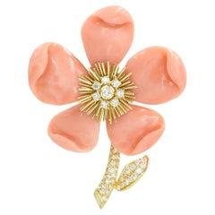 """Van Cleef & Arpels Paris """"Clematis"""" Coral Diamond Gold Brooch"""