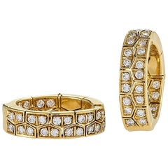 Van Cleef & Arpels Paris Diamond and Gold Hoop Earrings