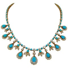 Van Cleef & Arpels Paris Diamond Turquoise Necklace