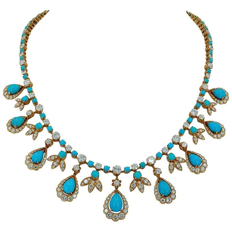 Van Cleef & Arpels Paris Diamond Turquoise Necklace