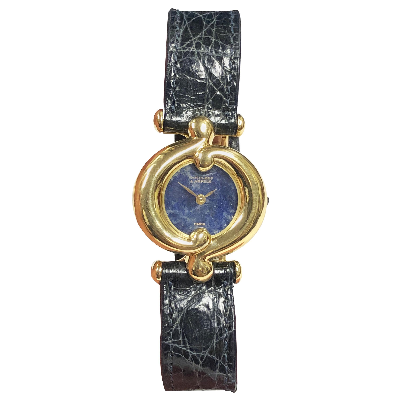 Van Cleef & Arpels Paris Ladies Gold and Lapis Stone Dial Quartz Wristwatch