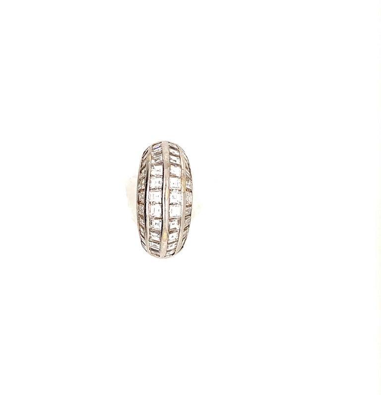 Retro Van Cleef & Arpels Paris Midcentury Diamond Platinum Bombe Ring For Sale