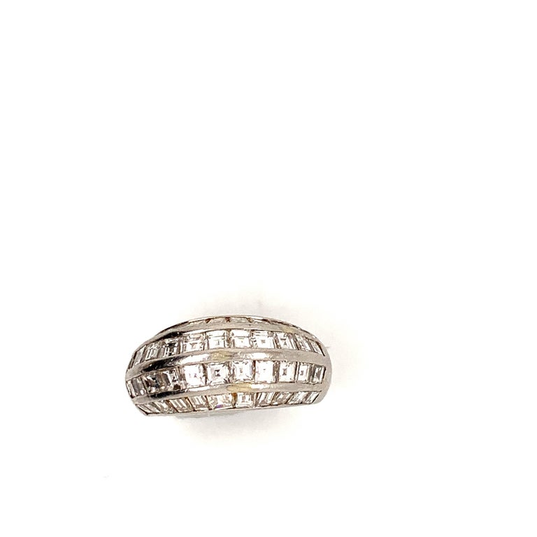 Baguette Cut Van Cleef & Arpels Paris Midcentury Diamond Platinum Bombe Ring For Sale