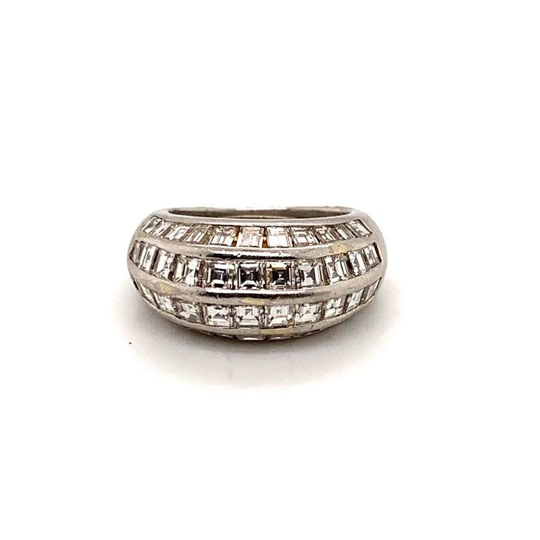 Van Cleef & Arpels Paris Midcentury Diamond Platinum Bombe Ring For Sale 1