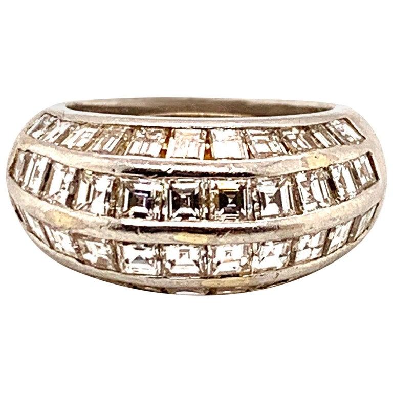 Van Cleef & Arpels Paris Midcentury Diamond Platinum Bombe Ring For Sale