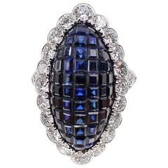 Van Cleef & Arpels Paris Mystery Set Sapphire and Diamond Navette Platinum Ring