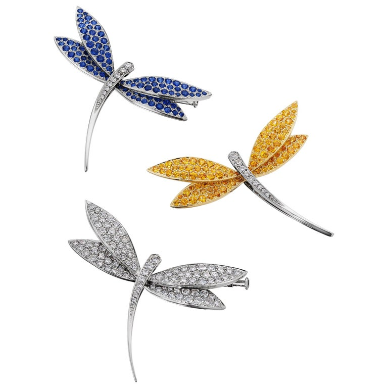 Van Cleef & Arpels Paris Vintage Diamond Blue Yellow Sapphire Dragonfly Brooches For Sale