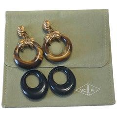 Van Cleef & Arpels Paris Yellow Gold and Stone Interchangeable Earrings