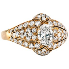 Van Cleef & Arpels Pave 18 Karat Gold Ring with Oval Diamond VCA
