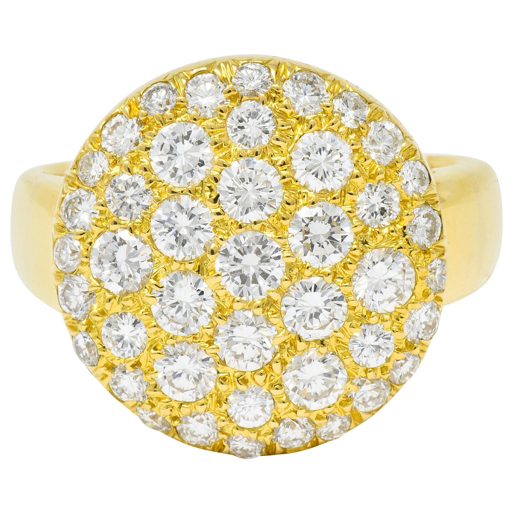 Van Cleef & Arpels Pave Diamond 18 Karat Gold Circle Band Ring