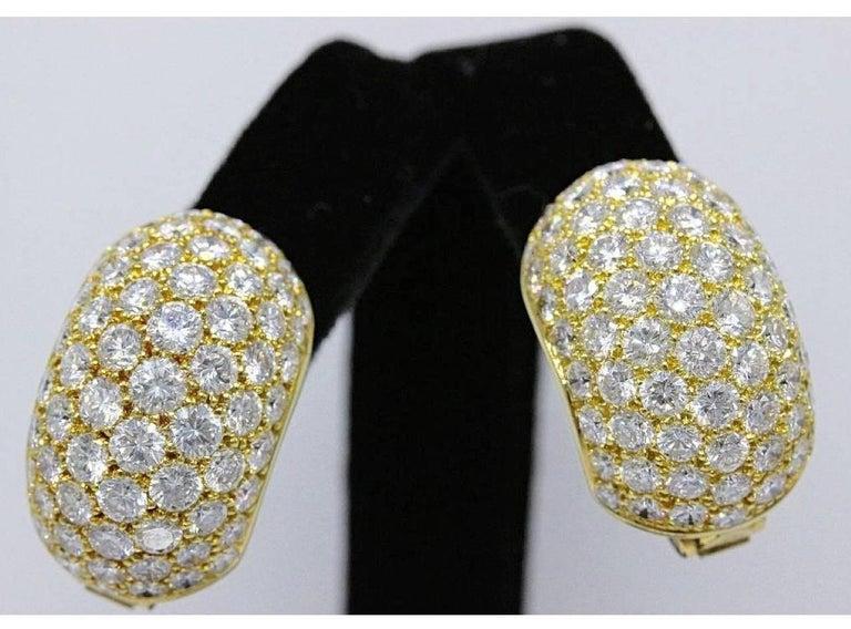Van Cleef & Arpels Pave Diamond Gold Huggie Earrings  For Sale 1