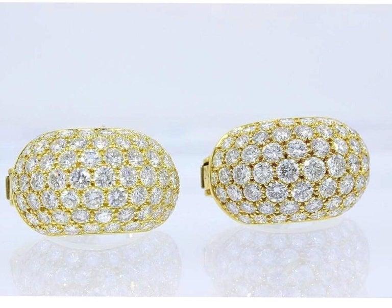 Van Cleef & Arpels Pave Diamond Gold Huggie Earrings  For Sale 2