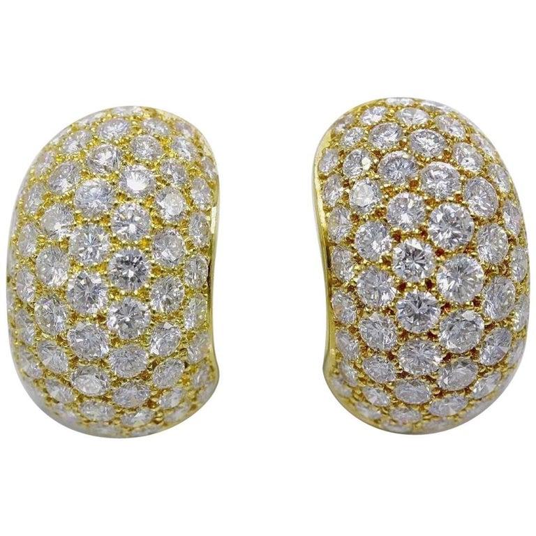 Van Cleef & Arpels Pave Diamond Gold Huggie Earrings  For Sale