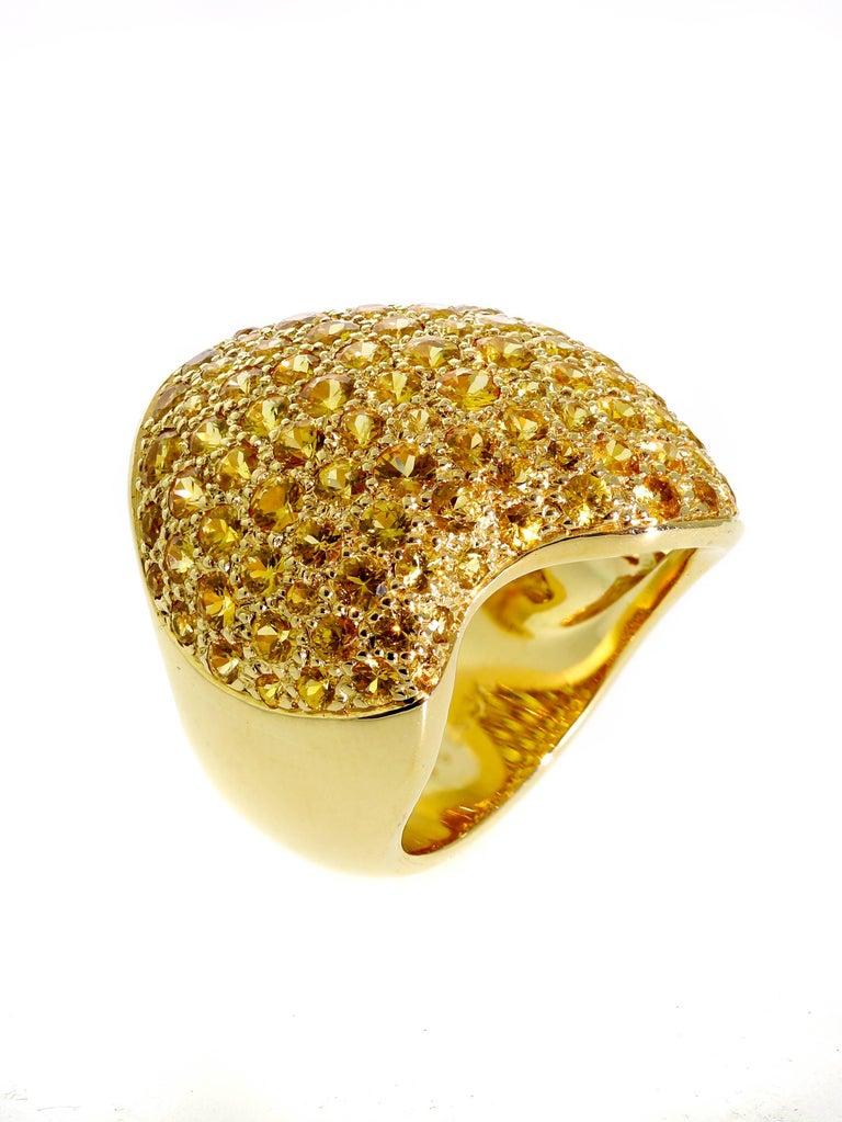 Women's or Men's Van Cleef & Arpels Pave Golden Sapphire Gold Ring For Sale