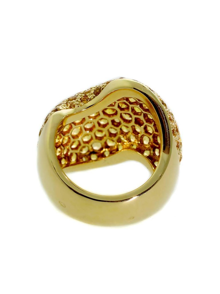 Van Cleef & Arpels Pave Golden Sapphire Gold Ring For Sale 1