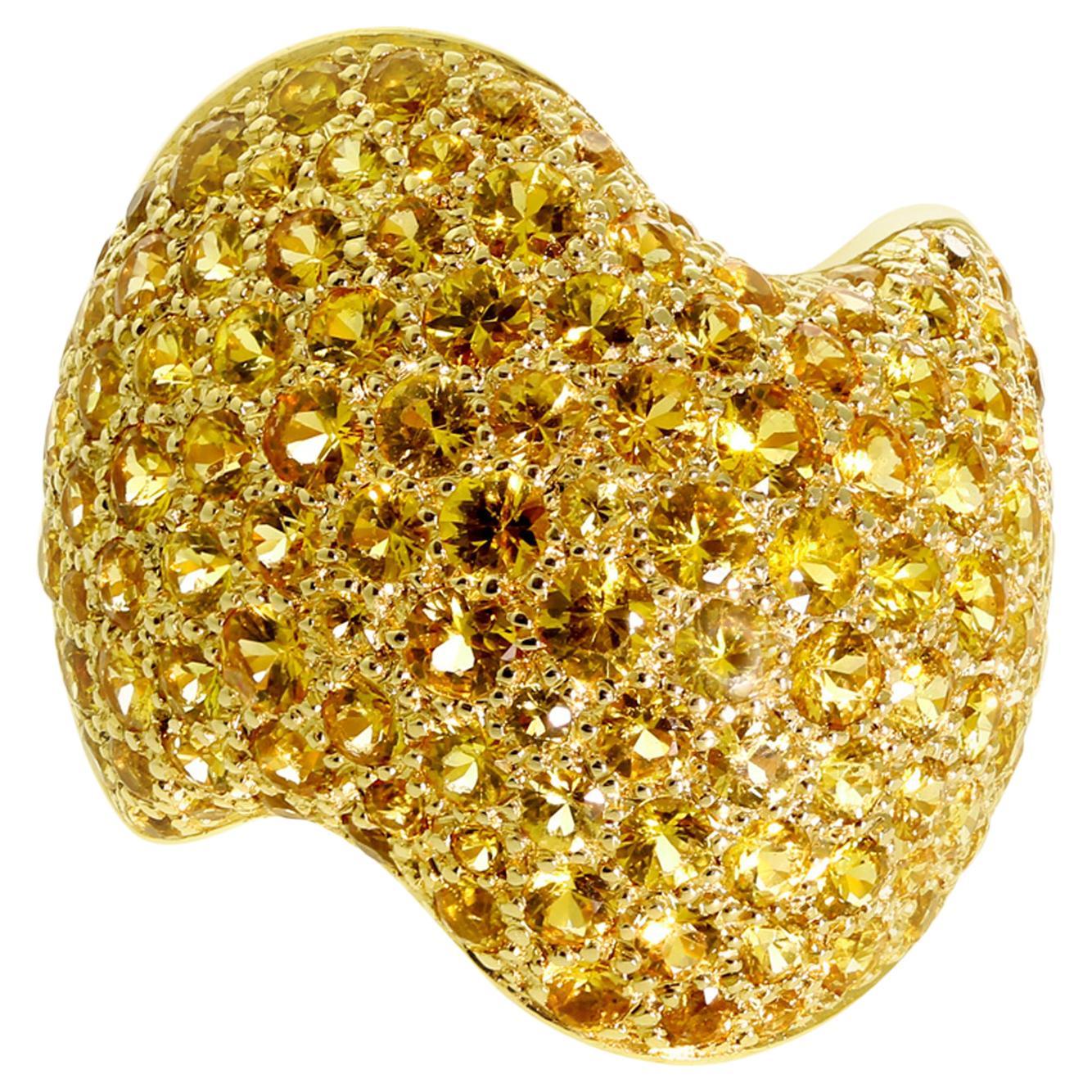 Van Cleef & Arpels Pave Golden Sapphire Gold Ring