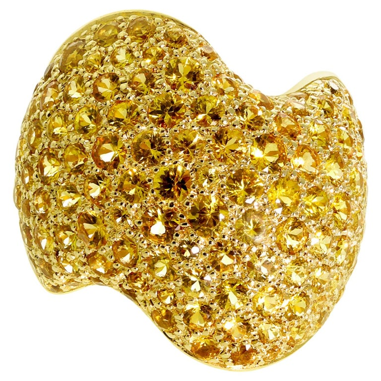 Van Cleef & Arpels Pave Golden Sapphire Gold Ring For Sale