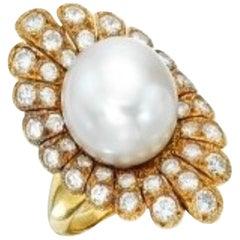 Van Cleef & Arpels Pearl and Diamond Cocktail Ring