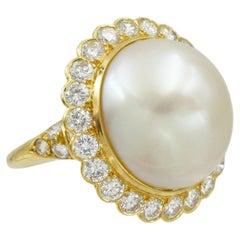 Van Cleef & Arpels Pearl and Diamond Ring