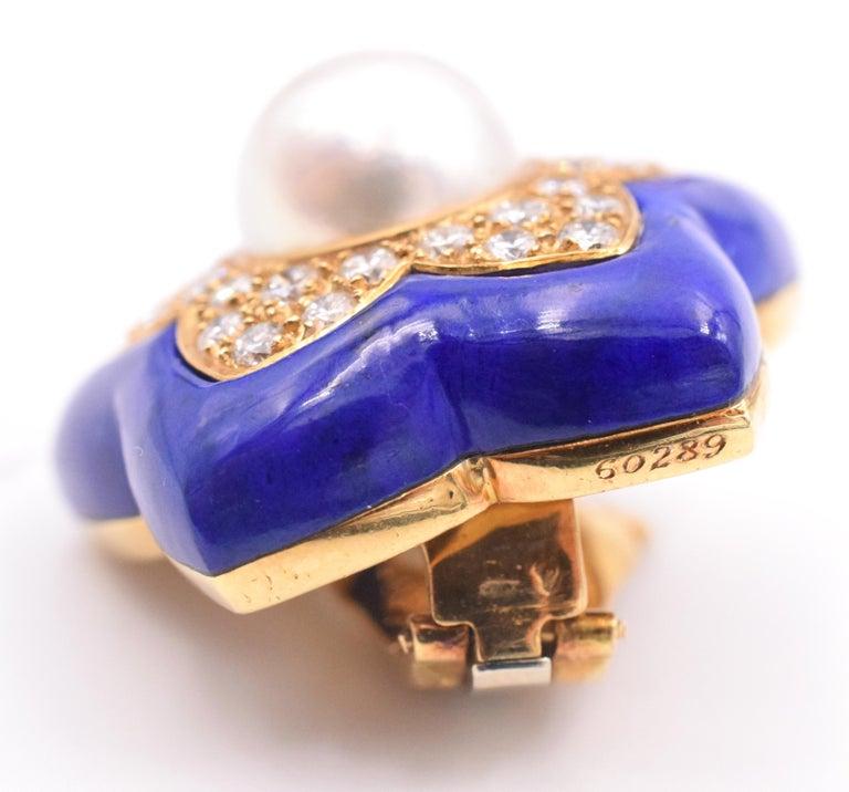 Women's Van Cleef & Arpels Pearl Lapis Lazuli Diamond Star Earrings For Sale