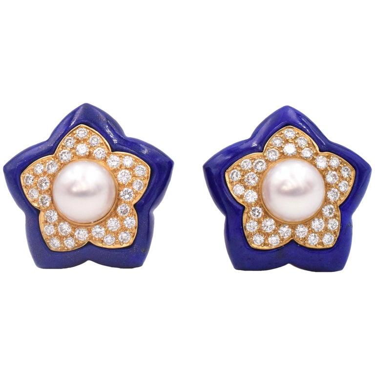 Van Cleef & Arpels Pearl Lapis Lazuli Diamond Star Earrings For Sale