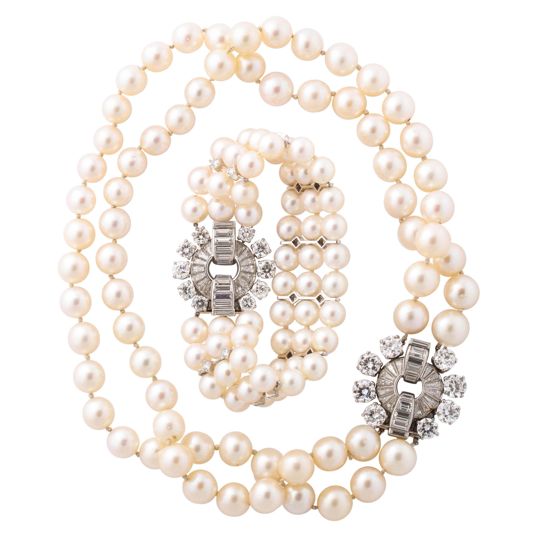 Van Cleef & Arpels Maharajah of Baroda Pearl Diamond Choker and Bracelet Set