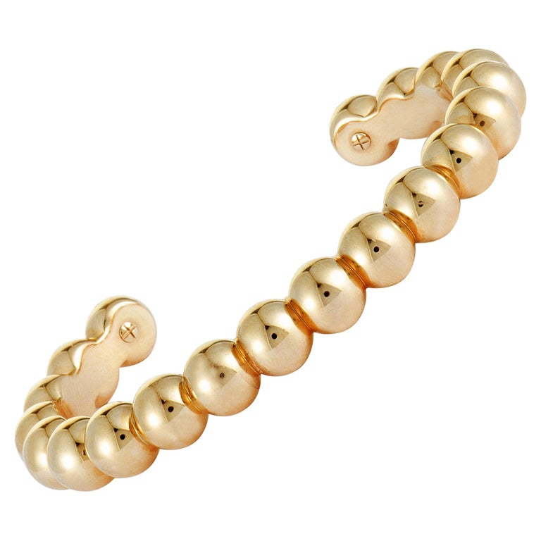 Van Cleef & Arpels Perlée 18 Karat Rose Gold Cuff Bracelet For Sale