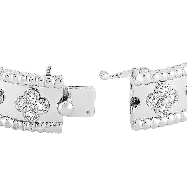 Round Cut Van Cleef & Arpels Perlée 18 Karat White Gold Diamond Bracelet For Sale