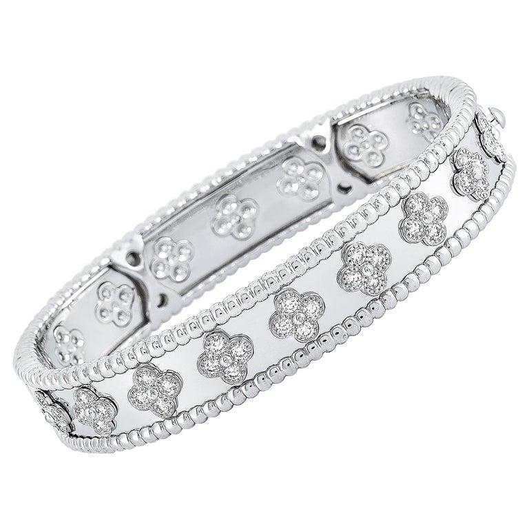 Van Cleef & Arpels Perlée 18 Karat White Gold Diamond Bracelet For Sale