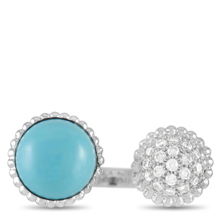 Women's Van Cleef & Arpels Perlée 18K White Gold Diamond and Turquoise Statement Ring For Sale