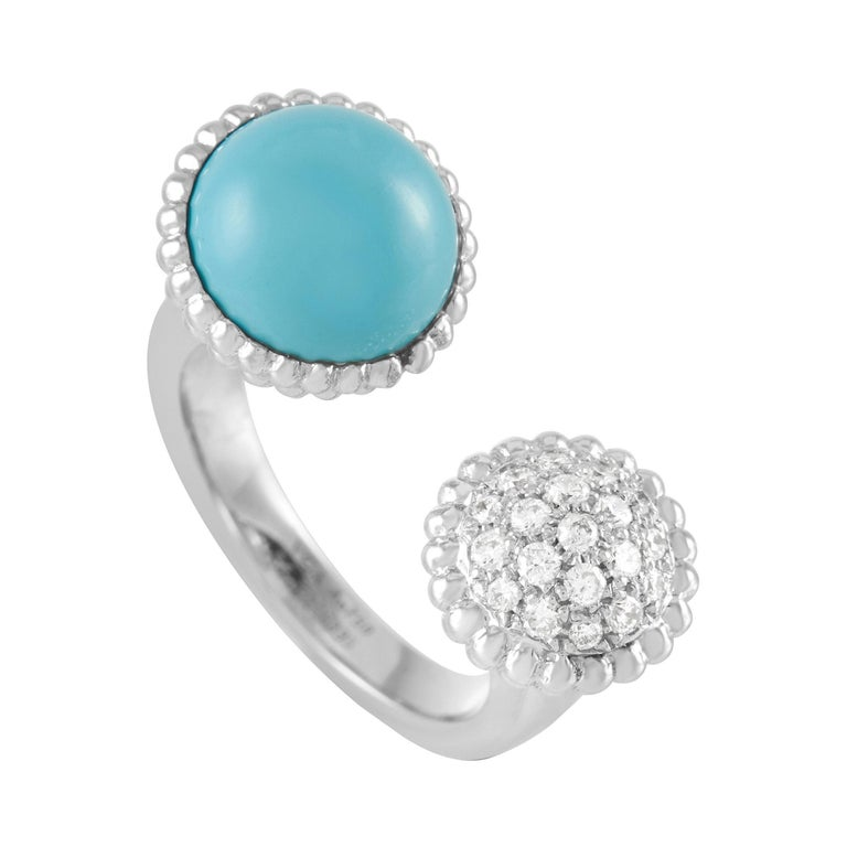Van Cleef & Arpels Perlée 18K White Gold Diamond and Turquoise Statement Ring For Sale