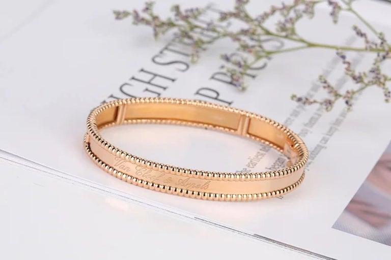 Women's Van Cleef & Arpels Perlée Bangle Bracelet Medium Size For Sale
