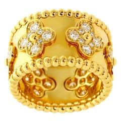 Van Cleef & Arpels Perlee Clover 18 Karat Yellow Gold Ring Round Diamonds