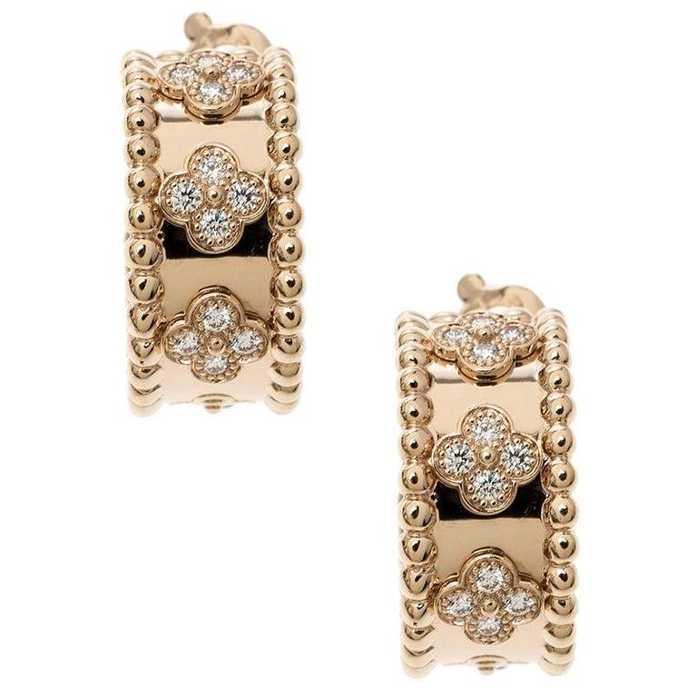 Contemporary Van Cleef & Arpels Perlée Clover Diamond & 18k Rose Gold Hoop Earrings