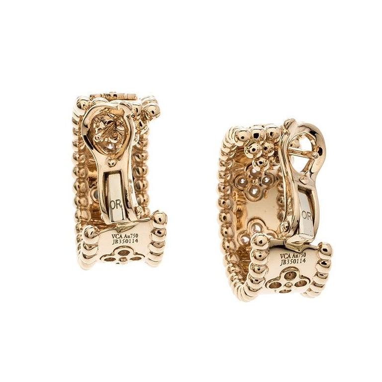 Van Cleef & Arpels Perlée Clover Diamond & 18k Rose Gold Hoop Earrings In Good Condition In Dubai, Al Qouz 2