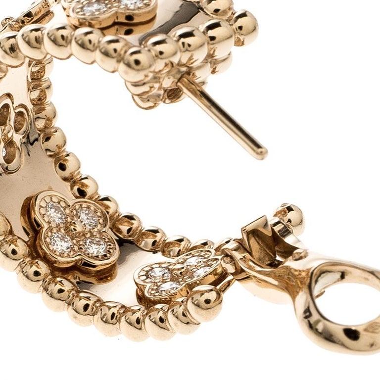 Women's Van Cleef & Arpels Perlée Clover Diamond & 18k Rose Gold Hoop Earrings