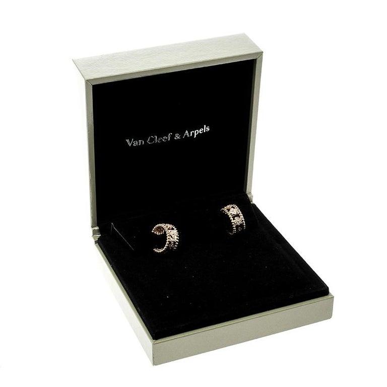 Van Cleef & Arpels Perlée Clover Diamond & 18k Rose Gold Hoop Earrings 2