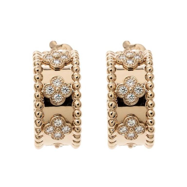 Van Cleef & Arpels Perlée Clover Diamond & 18k Rose Gold Hoop Earrings