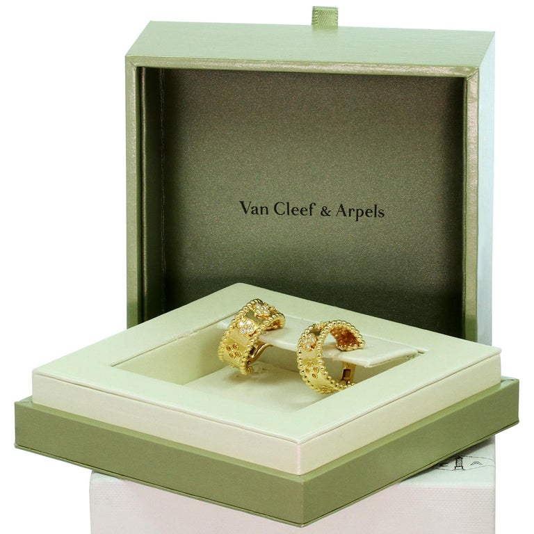 Van Cleef & Arpels Perlée Clover Diamond Yellow Gold Hoop Earrings In Excellent Condition For Sale In New York, NY